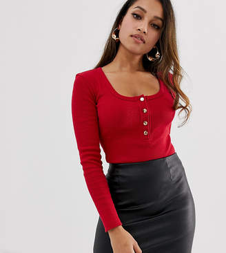 Missguided Petite popper detail ribbed body in red