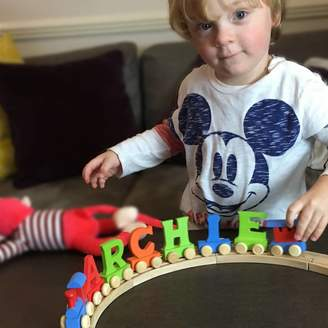 When I Was a Kid Personalised Colour Wooden Letter Name Train