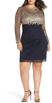 Xscape Evenings Embellished Mesh & Jersey Cocktail Dress