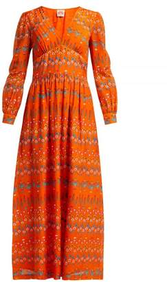 Le Sirenuse Le Sirenuse, Positano - Alessandra Floral Cotton Maxi Dress - Womens - Orange