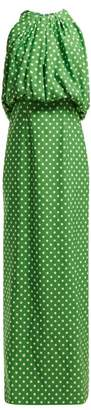 Calvin Klein Polka Dot Faille Long Dress - Womens - Green White