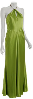 A.B.S. ivy green satin beaded halter dress