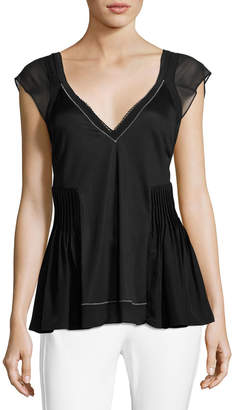 3.1 Phillip Lim V-Neck Flutter Top with Bra Detail, Black