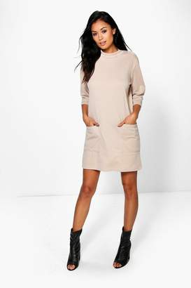 boohoo Oversized High Neck Pocket Front Box Shift Dress