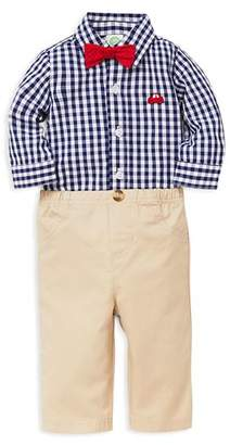 Little Me Boys' Red Car Checkered Bodysuit, Pants & Bow Tie Set - Baby