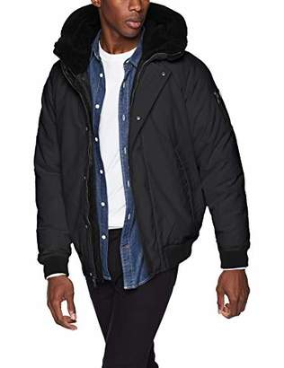Sean John Men's Ultra Warm Bomber Jacket with Sherpa Trim Hood