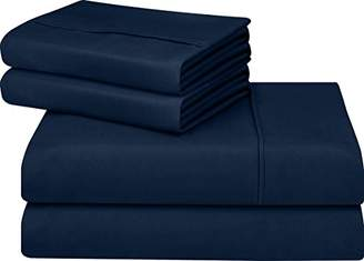 Utopia Bedding Soft Brushed Microfiber Wrinkle Fade and Stain Resistant 4-Piece Full Bed Sheet Set - Navy