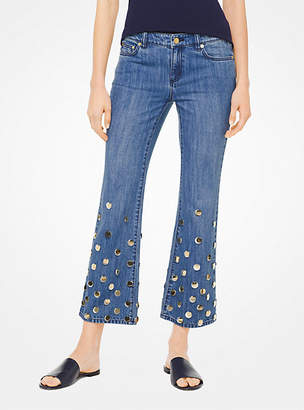 Michael Kors Embellished Cropped Flared Jeans