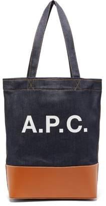A.P.C. Axel Logo Print Denim Tote Bag - Mens - Brown