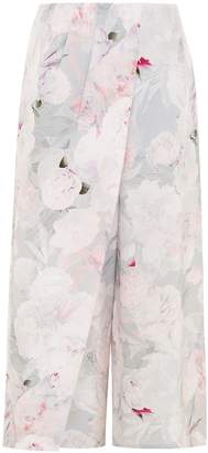 Abigail London - Silk Floral Print Kitty Culottes Pink Cream