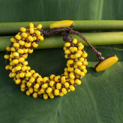 Phrae Belle Wood Beaded Jewelry Yellow Torsade Bracelet for a valentines day gift