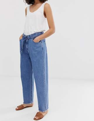 Kings Of Indigo organic cotton alice high rise loose fit jean with belted waist
