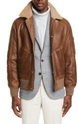Brunello Cucinelli Genuine Shearling & Leather Aviator Jacket