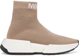 MM6 MAISON MARGIELA Logo-jacquard Ribbed Stretch-mesh Sneakers - Beige