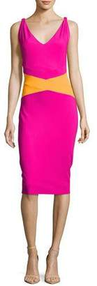 Chiara Boni Dorcas Sleeveless Colorblock Cocktail Dress, Pink
