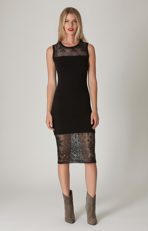 Liberty Garden - Meriam Lace Tank Dress in Black