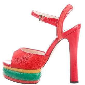 Chrissie Morris Farrah Snakeskin Sandals w/ Tags