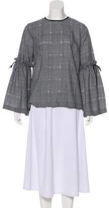 Mother of Pearl Wool Plaid Top