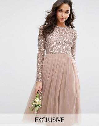 Maya Long Sleeved Midi Dress with Delicate Sequin and Tulle Skirt $128 thestylecure.com
