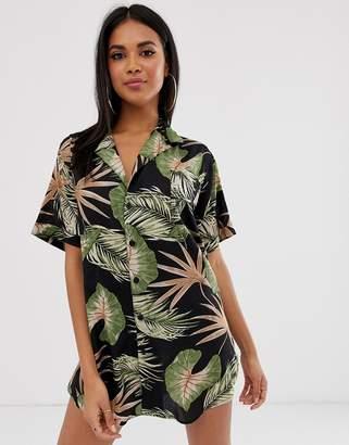 Asos Design DESIGN vintage Hawaiian print oversized beach shirt
