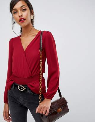 Oasis wrap front blouse in red