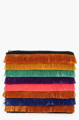 boohoo Megan Multi Colour Fringe Clutch
