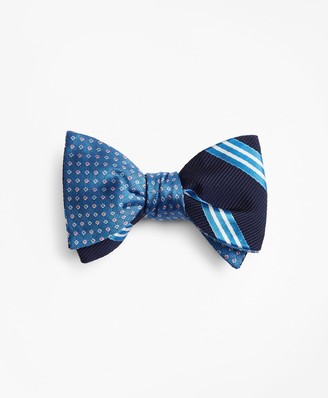 Brooks Brothers Two-Color Square with Stripe Reversible Bow Tie