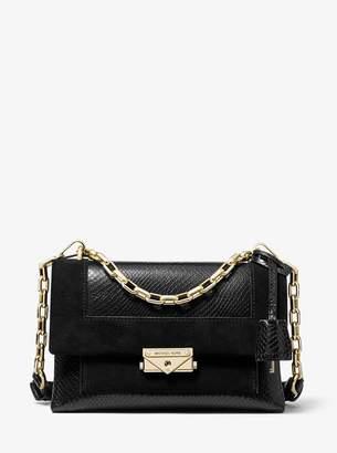 MICHAEL Michael Kors Cece Medium Python-Embossed Leather and Suede Shoulder Bag