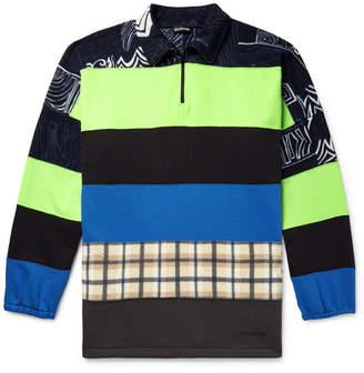 Balenciaga Oversized Panelled Fleece-Back Stretch-Jersey Half-Zip Sweatshirt