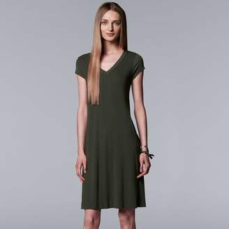 Vera Wang Women's Simply Vera Ribbed T-Shirt Dress