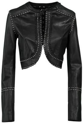 Diesel Black Gold Cropped Leather Jacket