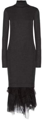 Brunello Cucinelli Tulle-Trimmed Wool-Jersey Turtleneck Midi Dress