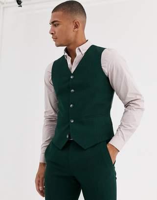 Design DESIGN wedding super skinny suit waistcoat in forest green micro texture