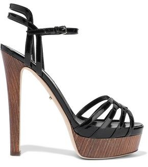 Sergio Rossi Paloma Cutout Patent-leather Plaform Sandals