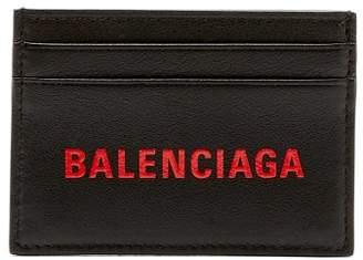 Balenciaga Logo Leather Cardholder - Mens - Black Red