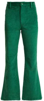 Staud - Hall Cropped Kick Flare Corduroy Trousers - Womens - Green