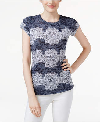 INC International Concepts I.n.c. Lace-Print Burnout T-Shirt, Created for Macy's