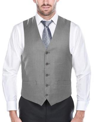 Verno Men's Light Grey Five Button Classic Fit Vest