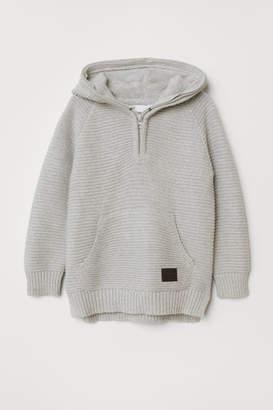 H&M Rib-knit Hooded Sweater - Gray