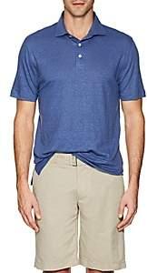 Napoleonerba Men's Slub Linen Polo Shirt - Blue