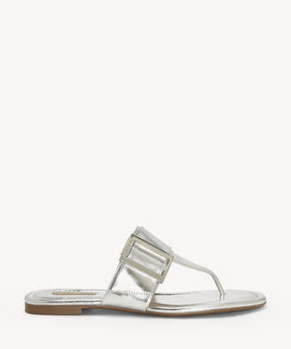 Louise et Cie Women's Agattha Overd Buckle Flat Sandals Sterling Size 5 Leather From Sole Society