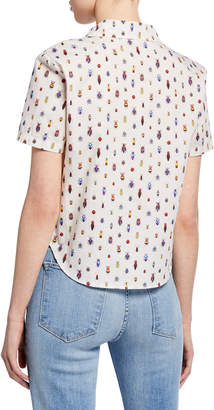 Frame Bug-Print Button-Down Short-Sleeve Tie-Front Shrunken Shirt