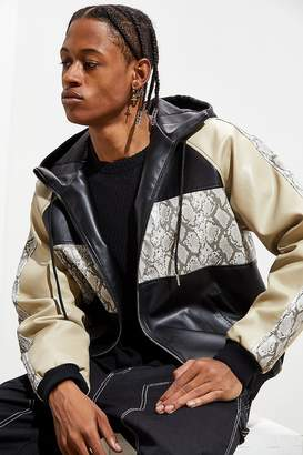 Urban Outfitters Faux Leather Colorblock Hooded Bomber Jacket