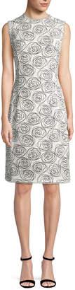 Oscar de la Renta Rose Print Sheath Dress