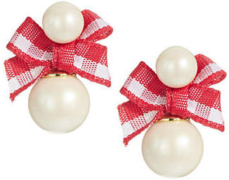 Kate Spade Bow and Faux Pearl Stud Earrings