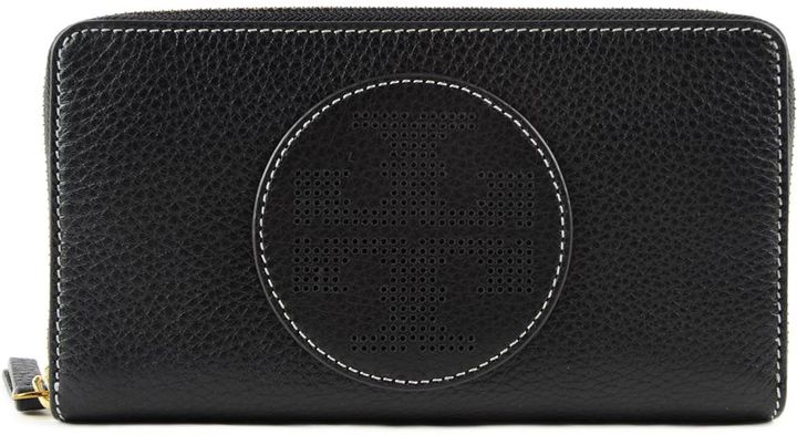 Tory Burch Perforated Logo Zip Around Wallet