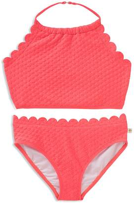 Kate Spade Girls' Textured Scalloped 2-Piece Swimsuit