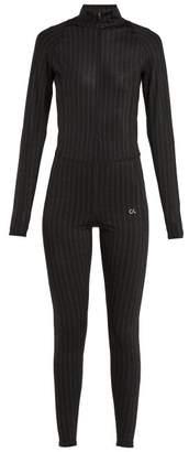 Calvin Klein Performance - Logo Striped Stretch Jersey Unitard - Womens - Black