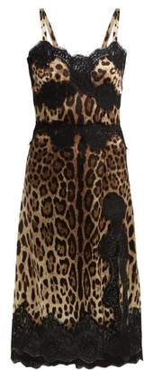 af5cc01643 Dolce   Gabbana Leopard Print Silk Blend Satin Dress - Womens - Leopard