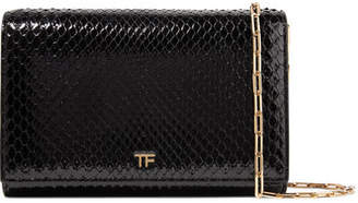 Tom Ford Leather-trimmed Python Shoulder Bag - Black